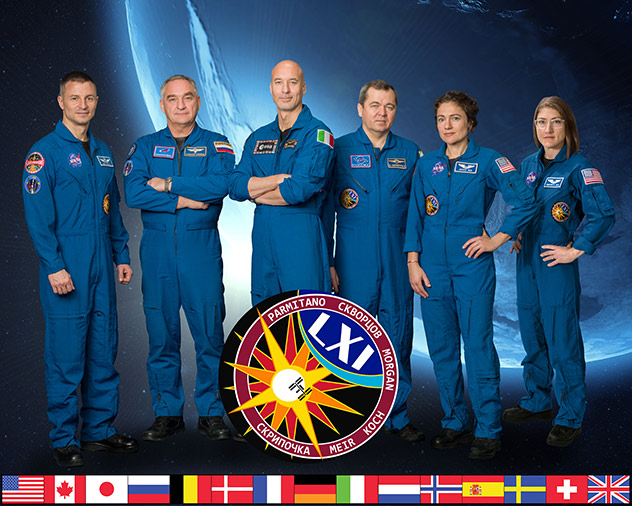 The official Expedition 61 crew portrait