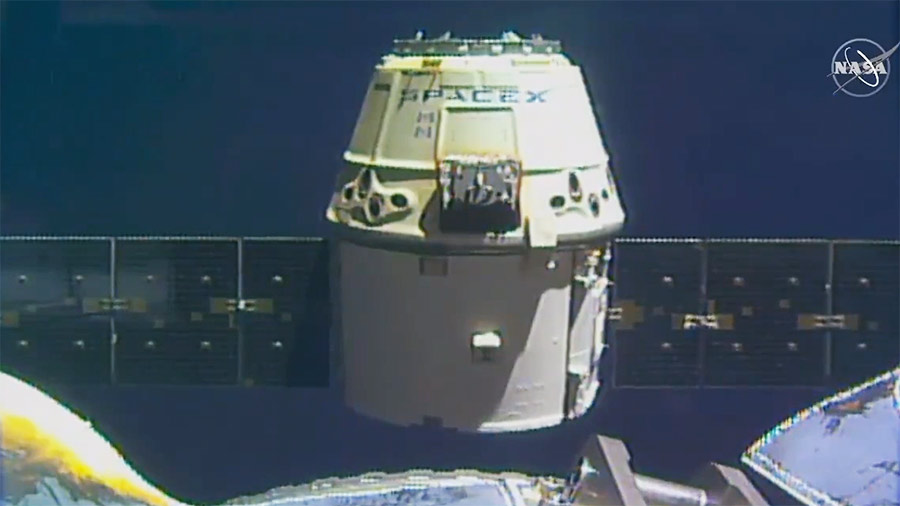 The SpaceX Dragon separates from the International Space Station