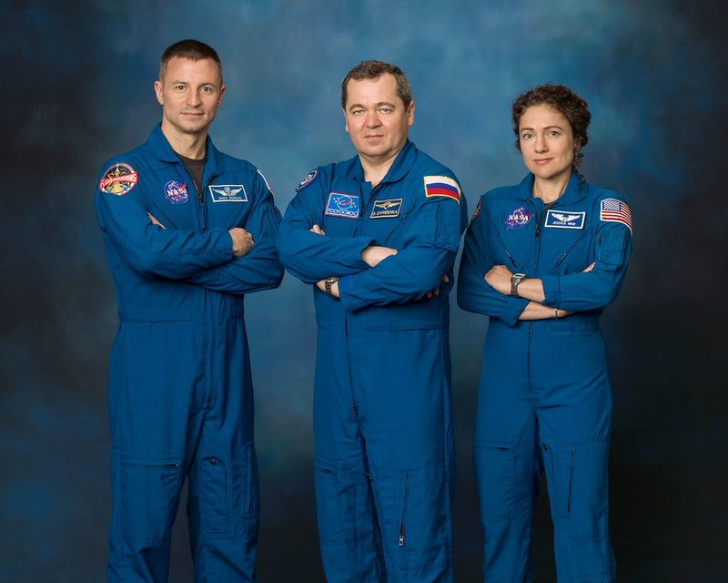 Expedition 62 crew portrait with NASA astronaut Andrew Morgan, Roscosmos cosmonaut Oleg Skripochka and NASA astronaut Jessica Meir. Image Credit: NASA