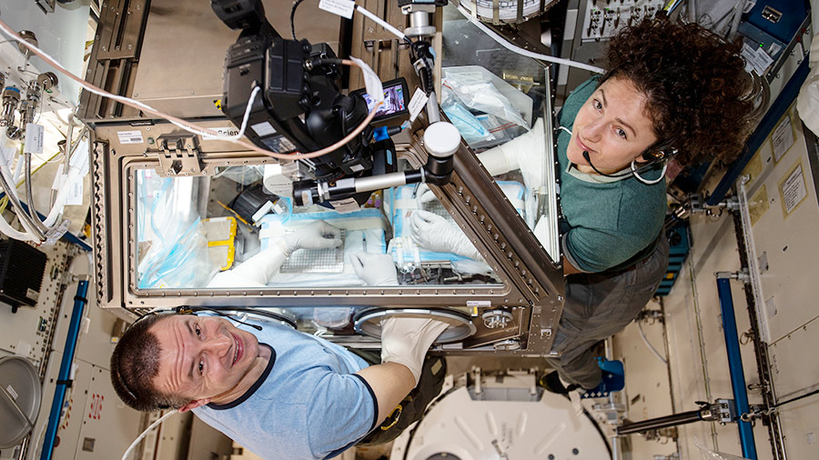 Astronauts Andrew Morgan and Jessica Meir