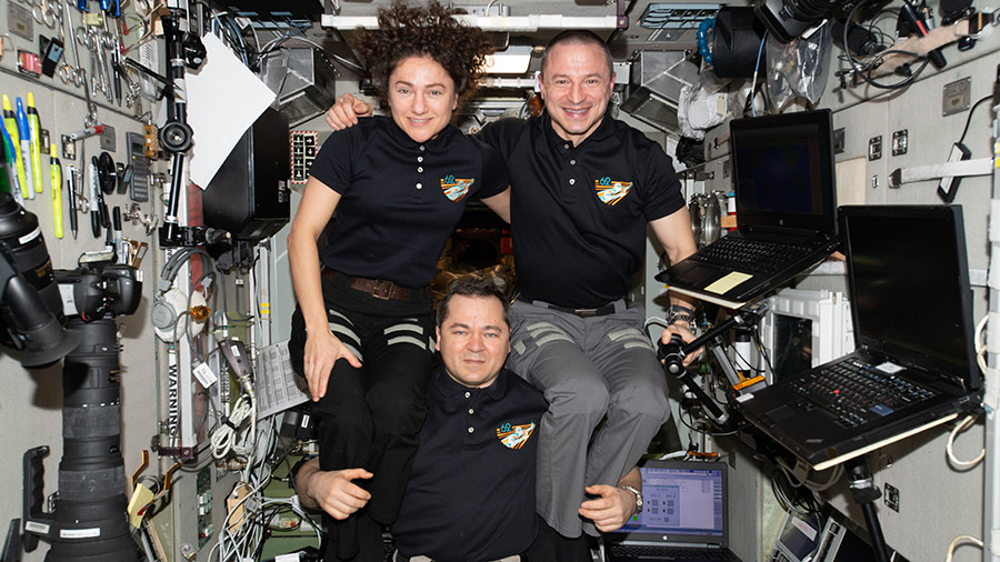 Expedition 62 crewmates Oleg Skripochka, Jessica Meir and Andrew Morgan