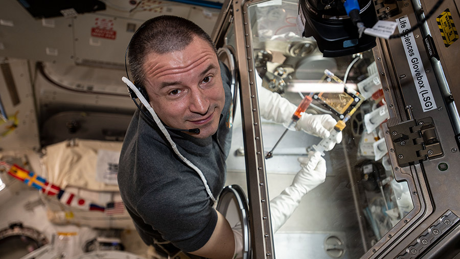 NASA astronaut Andrew Morgan conducts research operations