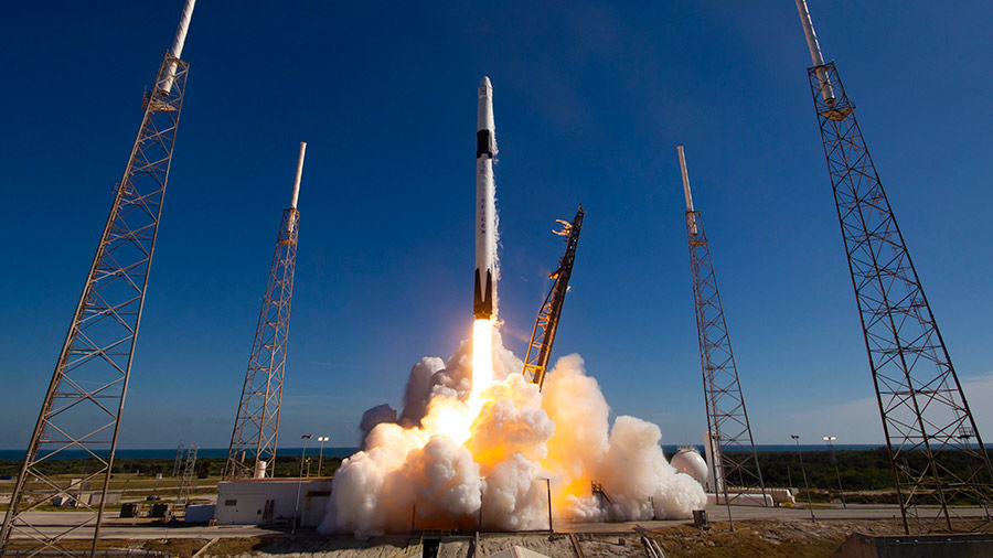 The SpaceX Dragon resupply ship launches