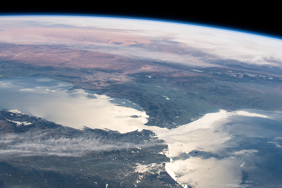 The Strait of Gibraltar connects the Atlantic Ocean with the Mediterranean Sea
