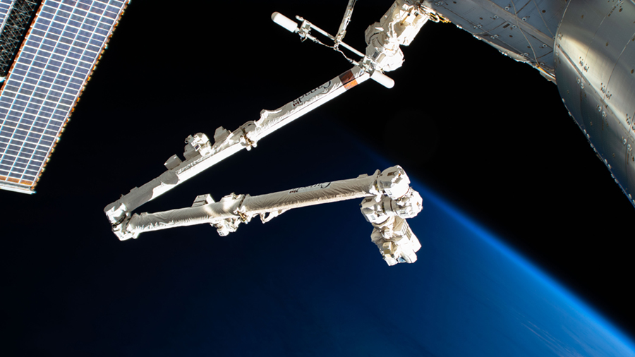 The International Space Station's Canadarm2 robotic arm