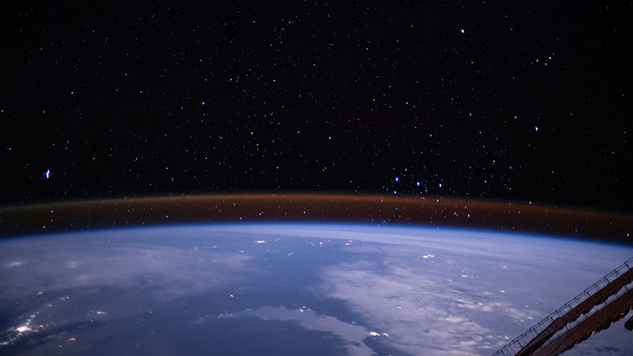 The atmospheric glow above Earth's limb.