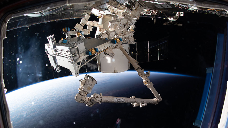 The Canadarm2 robotic arm and Dextre extract Bartolomeo