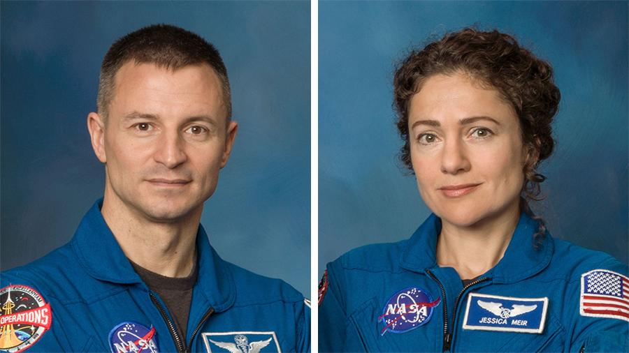 NASA astronauts Andrew Morgan and Jessica Meir
