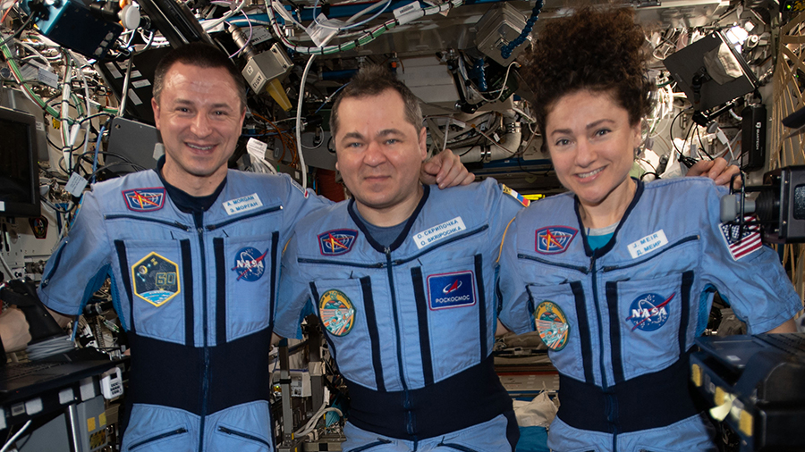 Expedition 62 crewmembers pose for a portrait