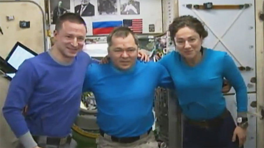 The Expedition 62 crew prepares to enter their Soyuz crew ship