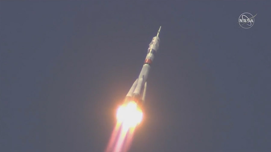 The Soyuz MS-16 rocket ascends toward space