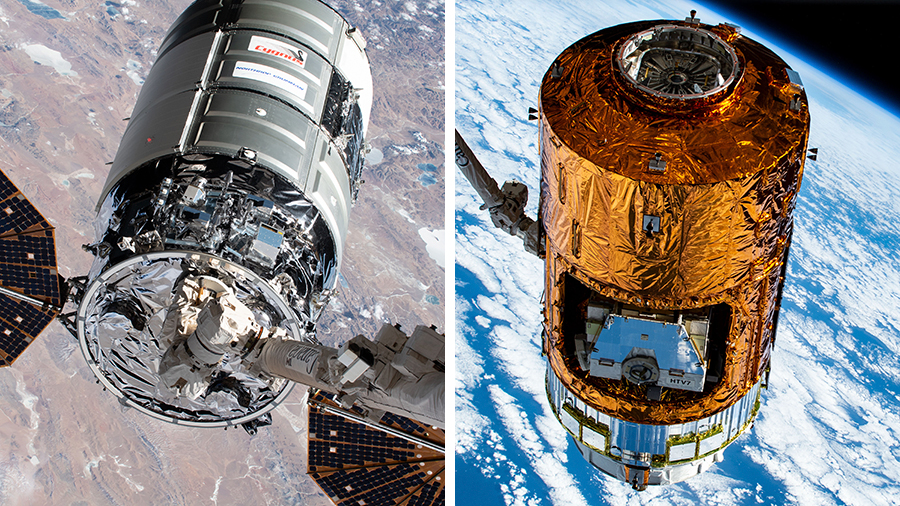 The U.S. Cygnus cargo craft (left) from the United States departs the station on Monday. The H-II Transfer Vehicle (right) from Japan arrives at the station on April 25.