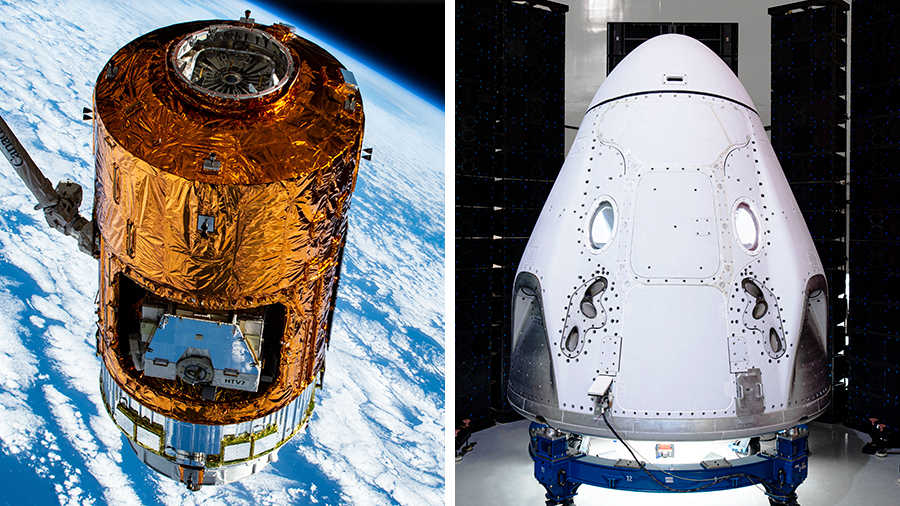 Japan's HTV-8 cargo craft and the SpaceX Crew Dragon vehicle