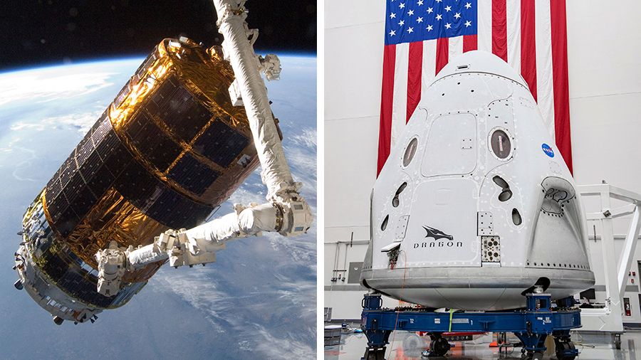 Japan's H-II Transfer Vehicle (left) and the SpaceX Crew Dragon (right) are scheduled to launch to the International Space Station this month.