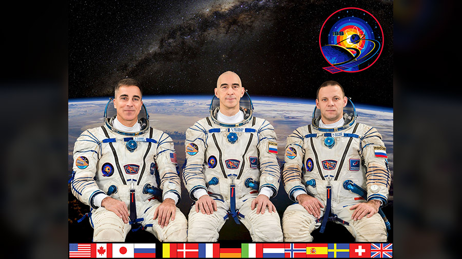 The three-member Expedition 63 crew aboard the International Space Station