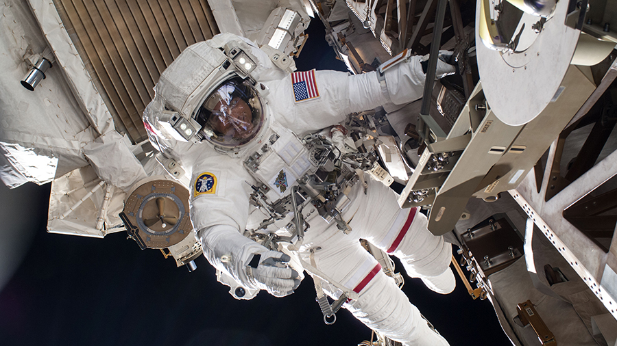 Astronaut Chris Cassidy is pictured in July of 2013 during a six-hour, seven-minute spacewalk