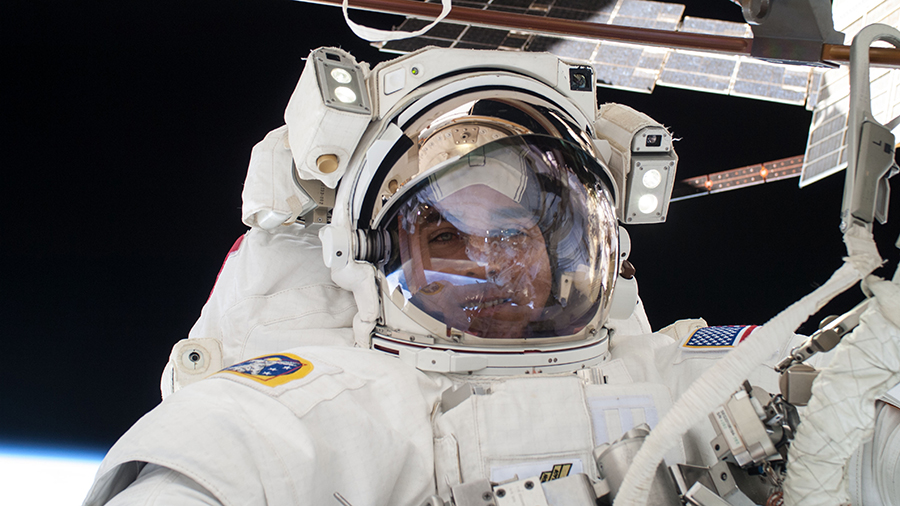 NASA astronaut Chris Cassidy is pictured during a spacewalk in July of 2013