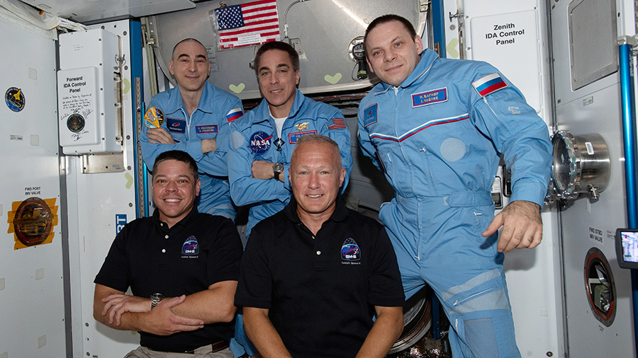 The newly-expanded Expedition 63 crew