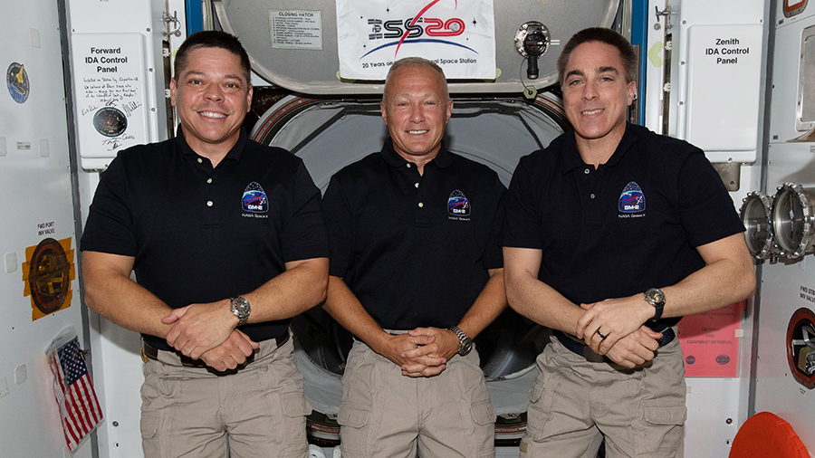 NASA astronauts (from left) Bob Behnken, Doug Hurley and Chris Cassidy are the U.S. members of the Expedition 63 crew. Credits: NASA