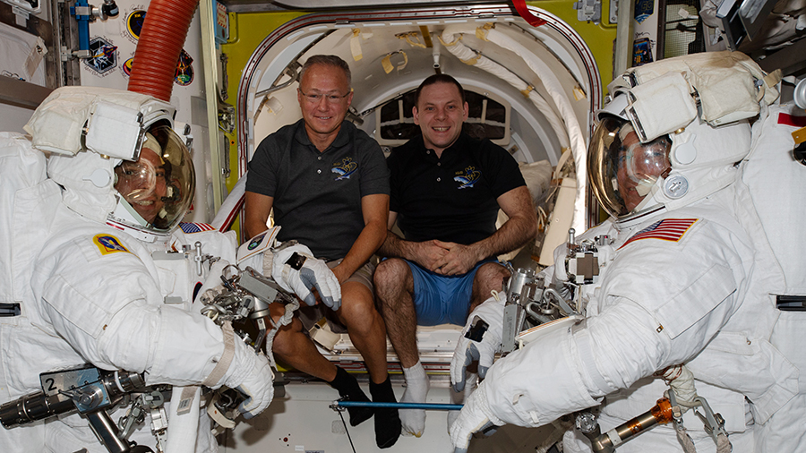 Expedition 63 crewmates assists spacewalkers