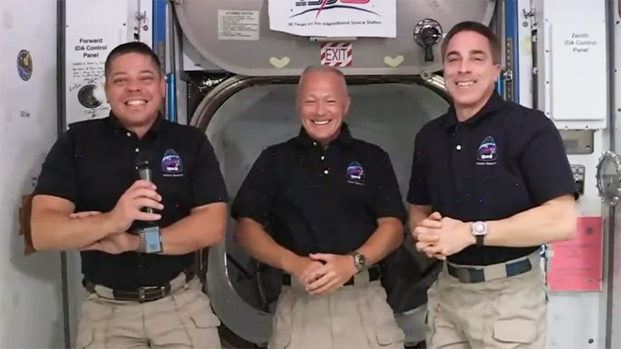 NASA astronauts and Expedition 63 crew members (from left) Bob Behnken, Doug Hurley and Chris Cassidy.