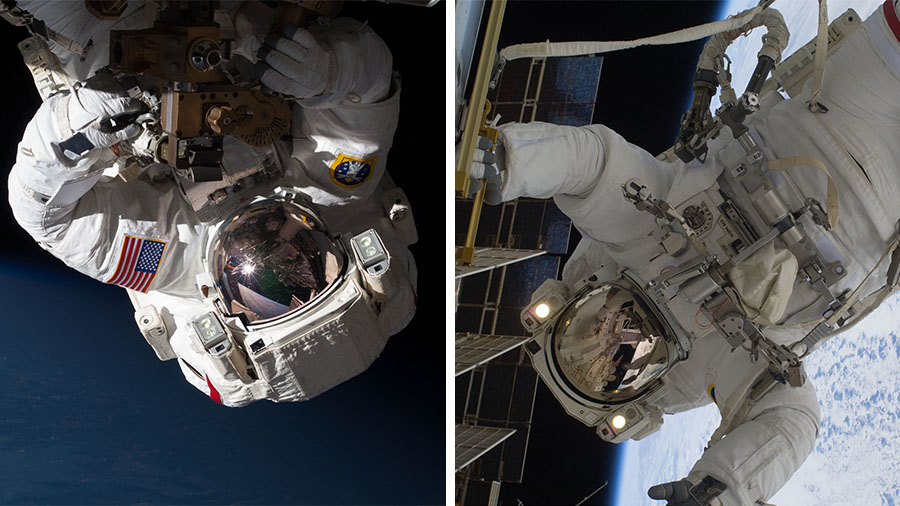 Astronauts (from left) Chris Cassidy and Bob Behnken are pictured during previous spacewalks on earlier missions at the space station.