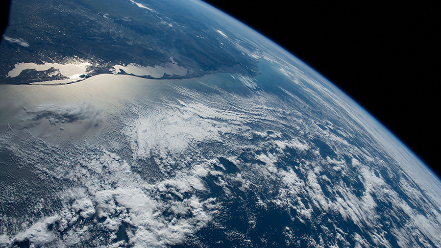 The southern tip of Brazil (upper left) bordering Uruguay was pictured as the International Space Station orbited off the Atlantic coast of South America.