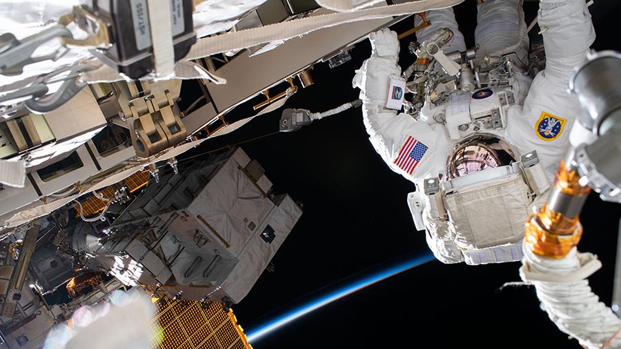 NASA astronaut Chris Cassidy works during a six-hour spacewalk