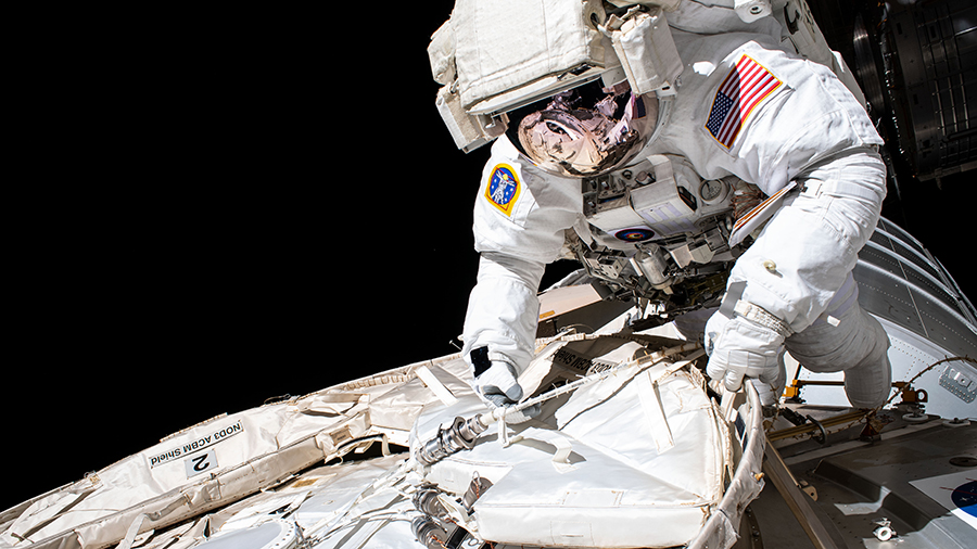 Expedition 63 Commander Chris Cassidy conducts a spacewalk