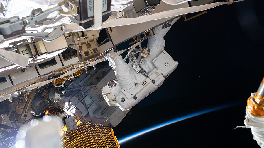NASA astronaut Chris Cassidy works during a six-hour spacewalk.