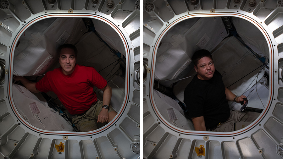 (From left) Expedition 63 Commander Chris Cassidy and Flight Engineer Bob Behnken are pictured inside the Bigelow Expandable Activity Module (BEAM).