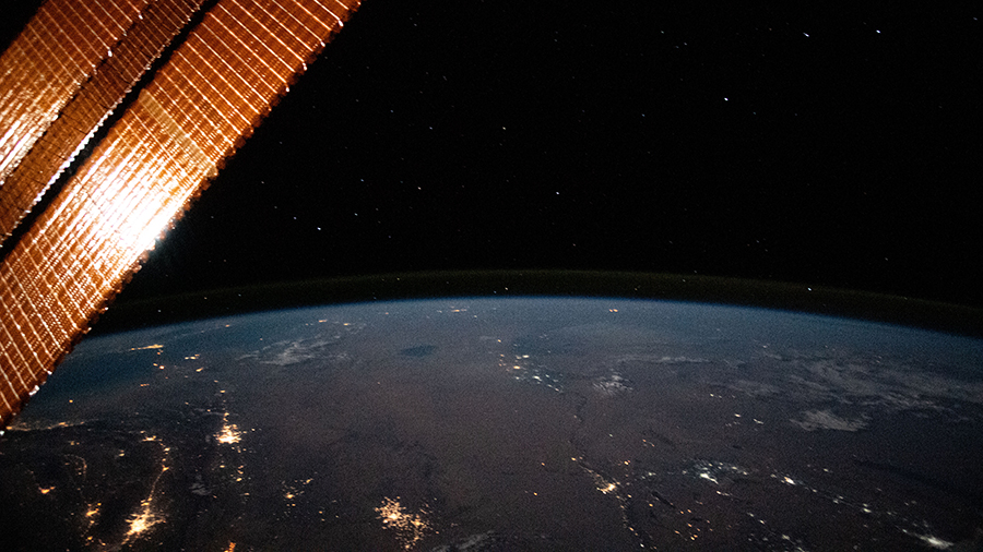 This nighttime photograph from the station looks north across Turkmenistan and Uzbekistan.