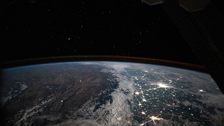 An Expedition 63 crew member aboard the space station photographed the well-lit, highly populated areas of Pakistan and northern India during an orbital night period.