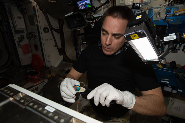A view of NASA astronaut Chris Cassidy during hardware setup aboard the International Space Station. Credits: NASA