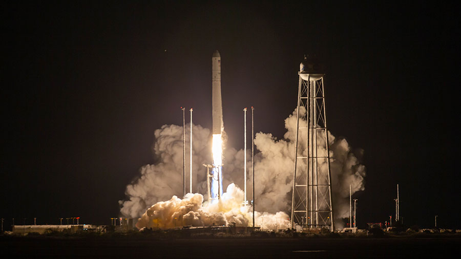 Northrop Grumman's Antares rocket with the Cygnus space freighter atop blasts off from Virginia on its way to resupply the Expedition 63 aboard the space station.