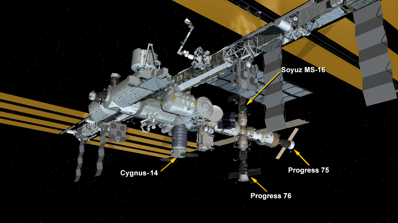 Cygnus Resupply Ship Attached to Station Unity Module