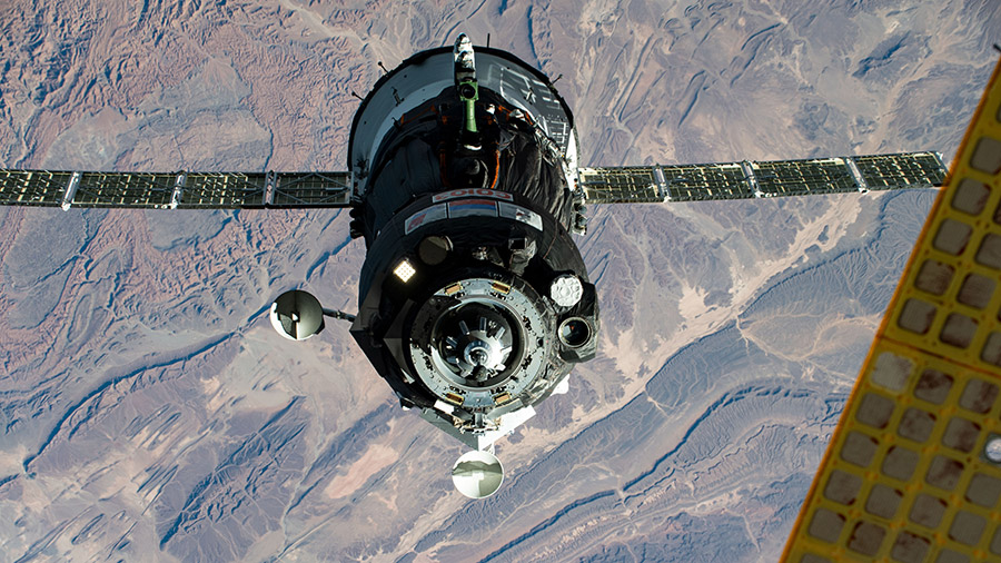 The Soyuz MS-17 spacecraft, with the Expedition 64 crew inside, approaches the space station for a docking on Oct. 14.