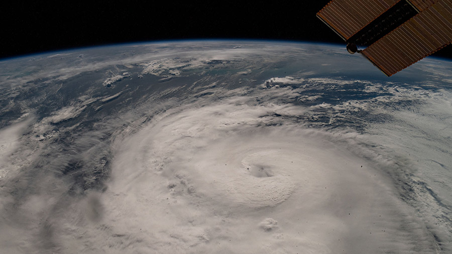Hurricane Zeta was pictured from the International Space Station as the category two storm churned in the Gulf of Mexico nearing Louisiana.