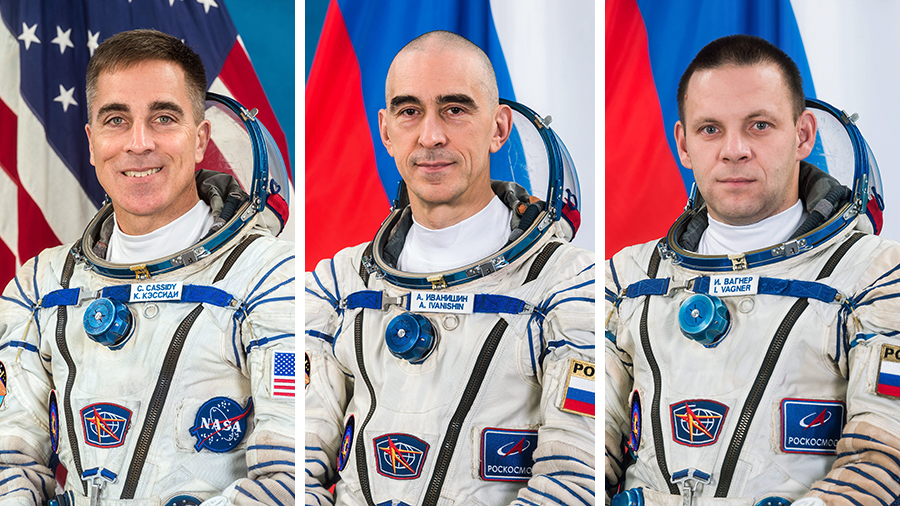 (From left) Expedition 63 Commander Chris Cassidy and Flight Engineers Anatoly Ivanishin and Ivan Vagner will return to Earth completing a 196-day research mission aboard the space station.