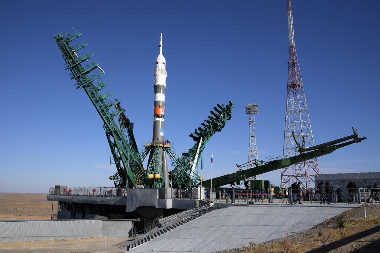 The Soyuz rocket that will launch three Expedition 64 crewmates to the station on Wednesday stands its launch pad at the Baikonur Cosmodrome in Kazakhstan. Credit: Roscosmos