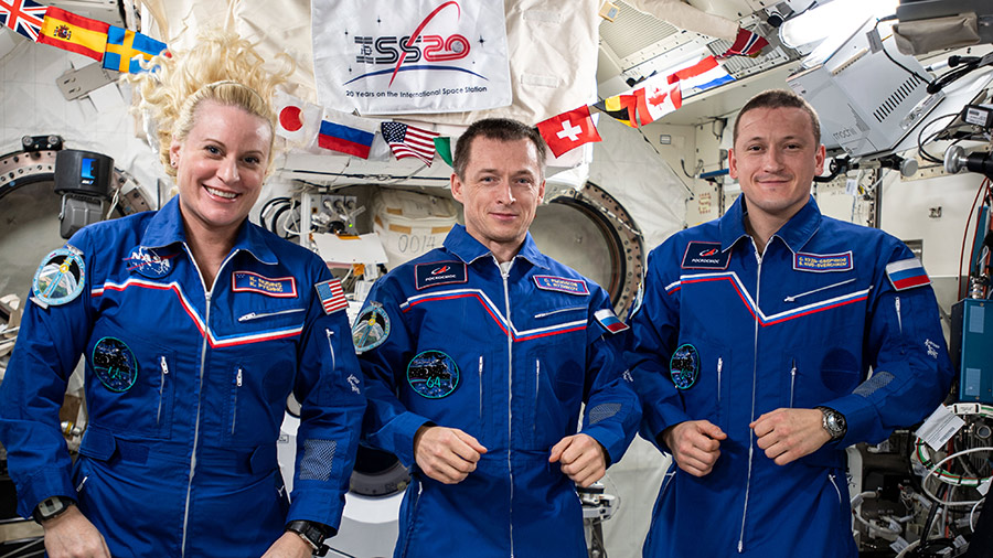 The three-member Expedition 64 crew with (from left) Flight Engineer Kate Rubins of NASA, Commander Sergey Ryzhikov of Roscosmos and Flight Engineer Sergey Kud-Sverchkov of Roscosmos.