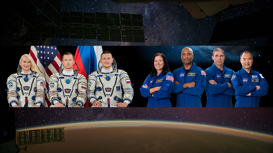 The Expedition 64 (left) crew is waiting to greet the SpaceX Crew-1 astronauts aboard the International Space Station.