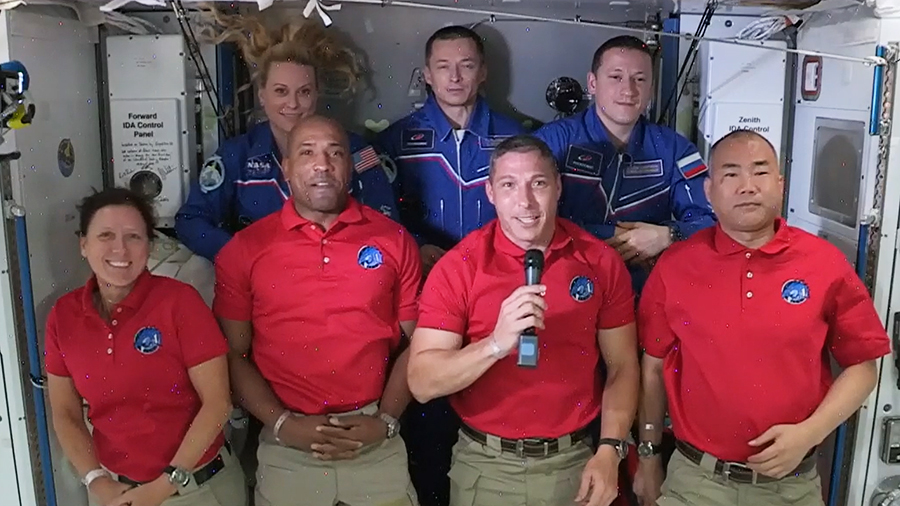 The four Commercial Crew astronauts (front row from left) Shannon Walker, Victor Glover, Michael Hopkins and Soichi Noguchi are welcomed aboard the station. In the back row from left are, NASA astronaut Kate Rubins and cosmonauts Sergey Ryzhikov and Sergey Kud-Sverchkov.