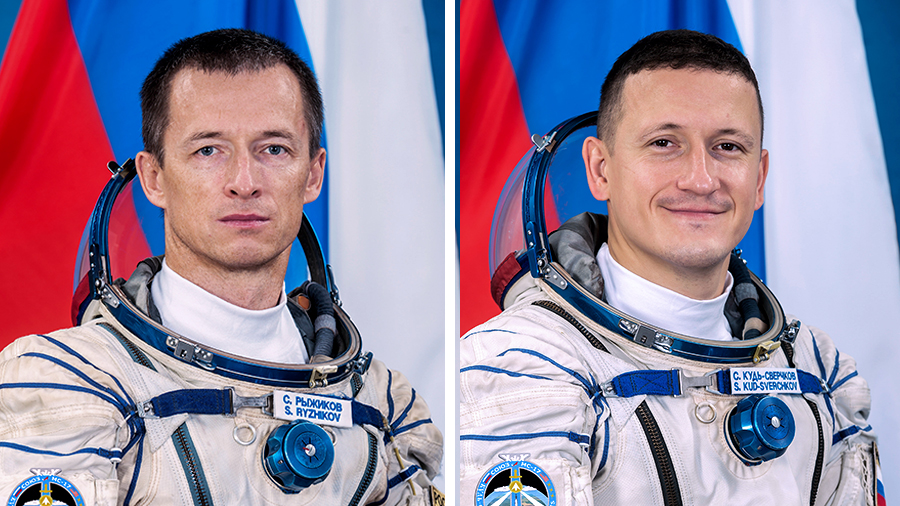 (From left) Expedition 64 Commander Sergey Ryzhikov and Flight Engineer Sergey Kud-Sverchkov, both cosmonauts representing Roscosmos, are embarking on their first spacewalk.