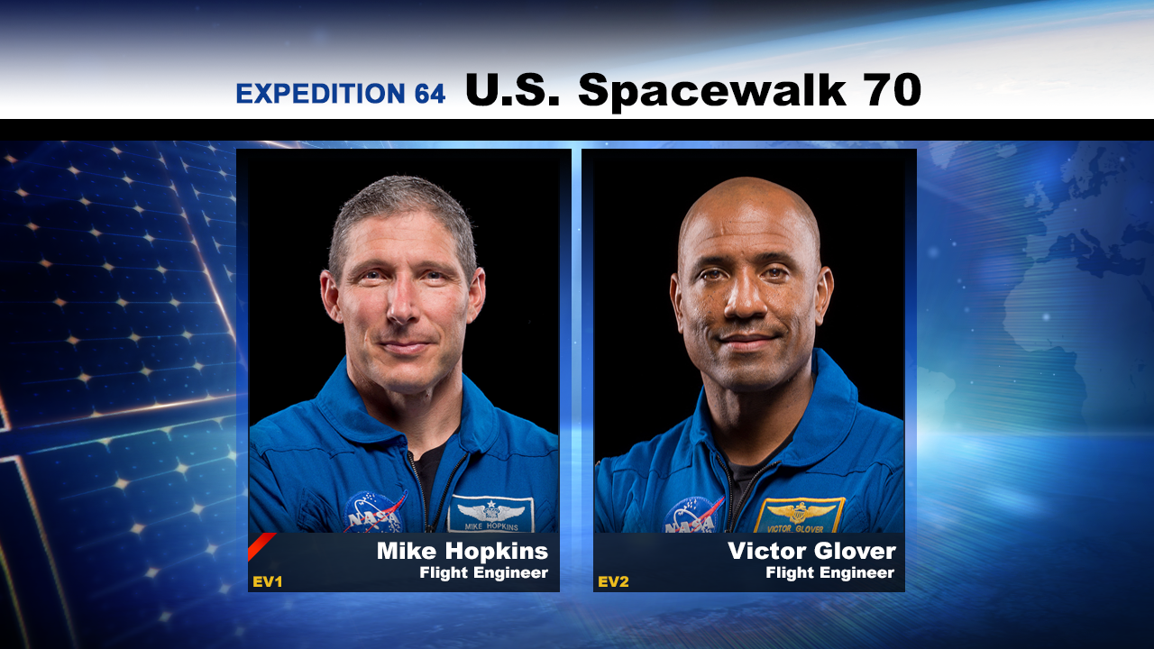 NASA astronauts Michael Hopkins and Victor Glover will conduct their second spacewalk together Monday about 7 a.m. EST. NASA TV begins its live coverage at 5:30 a.m.