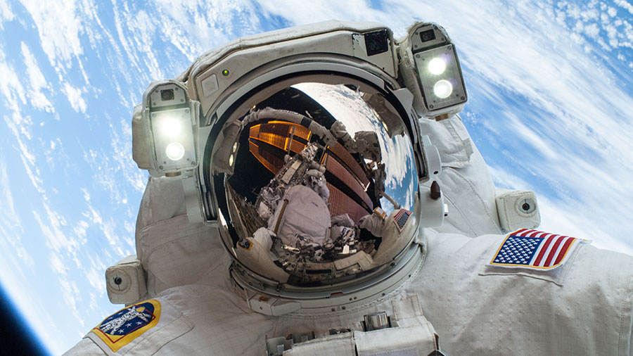 NASA astronaut Mike Hopkins is pictured during a spacewalk in December of 2013 when he was a flight engineer during Expedition 38.