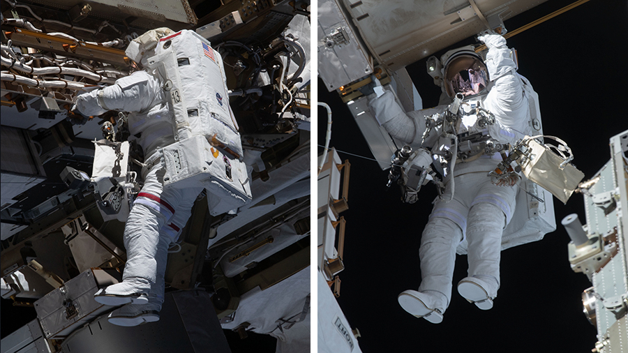 NASA astronauts Michael Hopkins and Victor Glover are pictured during a spacewalk on Jan. 27, 2021, for antenna work and future solar array upgrades.