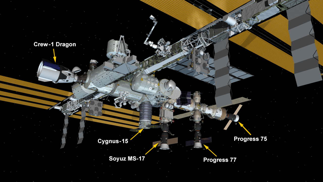 Feb. 22, 2021: International Space Station Configuration. Five spaceships are attached to the space station including the SpaceX Crew Dragon, the Northrop Grumman Cygnus cargo craft, and Russia's Progress 76 and 77 resupply ships and Soyuz MS-17 crew ship.
