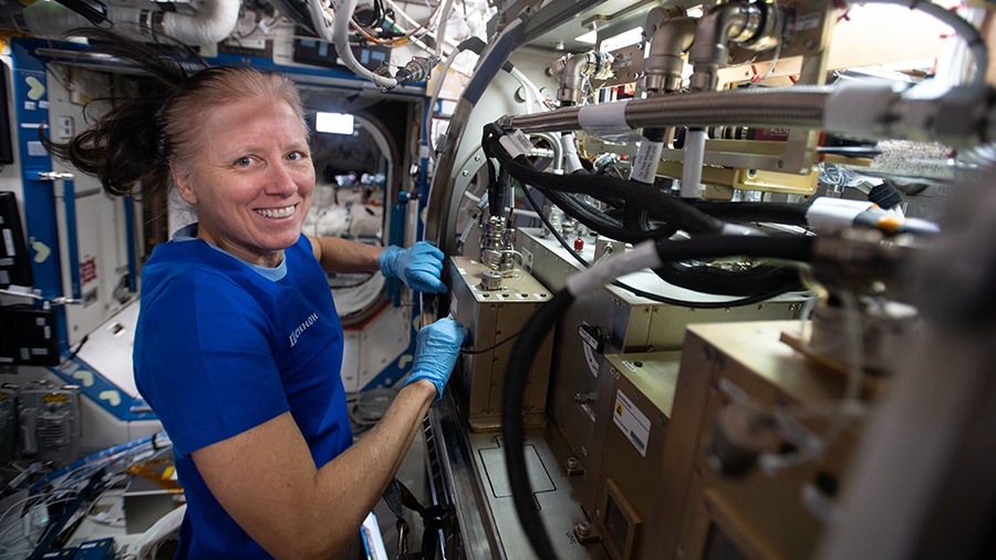 NASA astronaut Shannon Walker sets up science hardware components inside the Destiny laboratory module's Microgravity Science Glovebox.