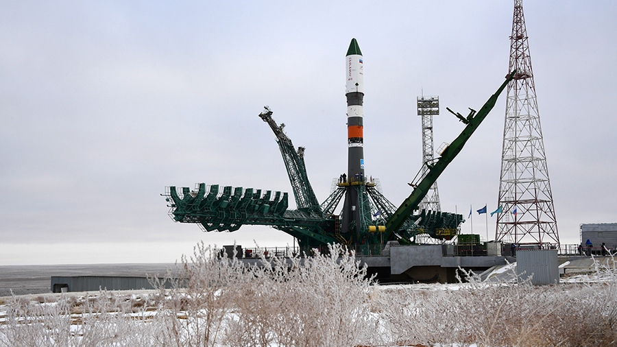 Russia's ISS Progress 77 space freighter stands at the launch pad at the Baikonur Cosmodrome in Kazakhstan. Credit: Roscosmos